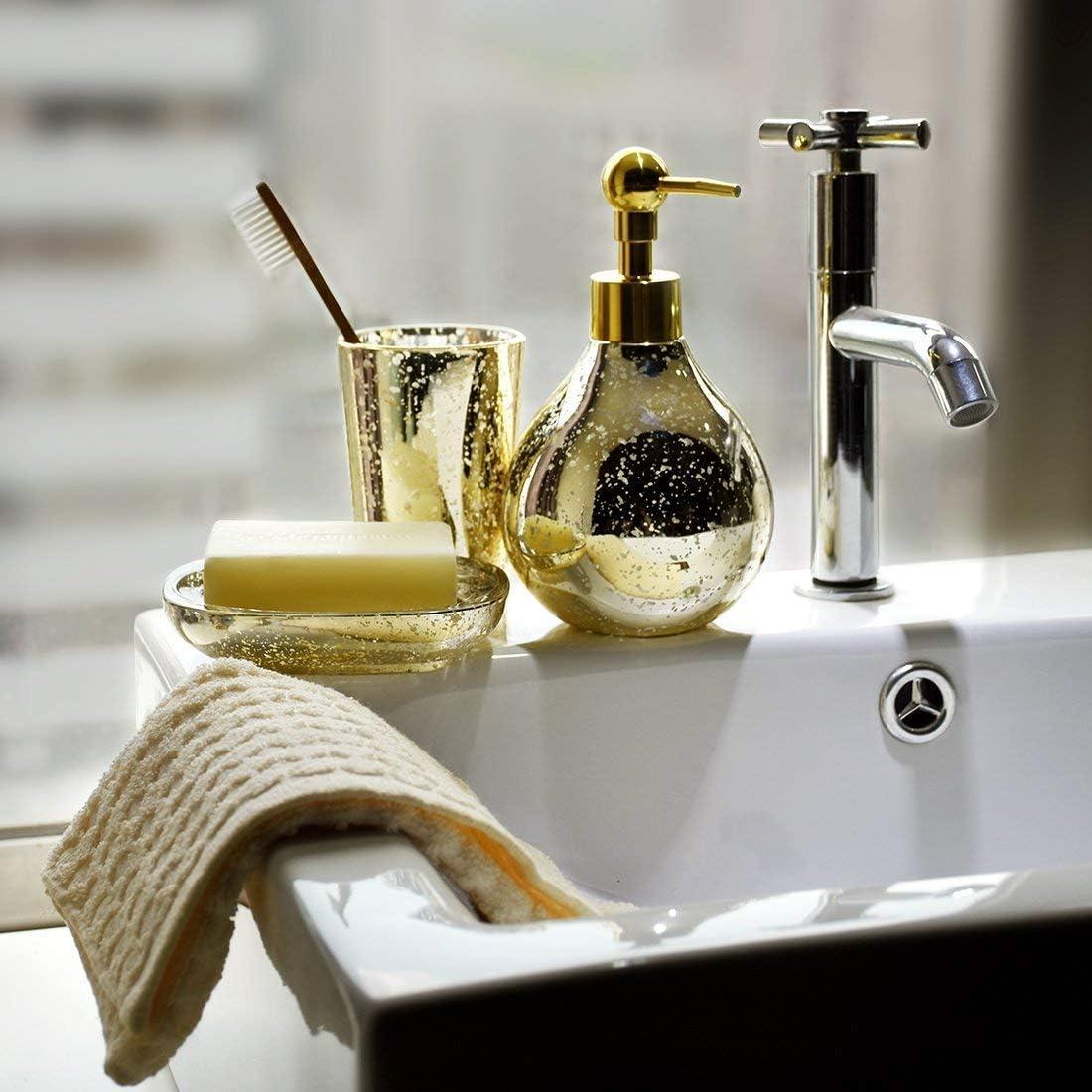 SATU BROWN Bathroom Soap Dispenser Set Shimmering Golden Mosaic Bathroom Tumbler Bathroom Soap Dish for Decor and Housewarming Gift