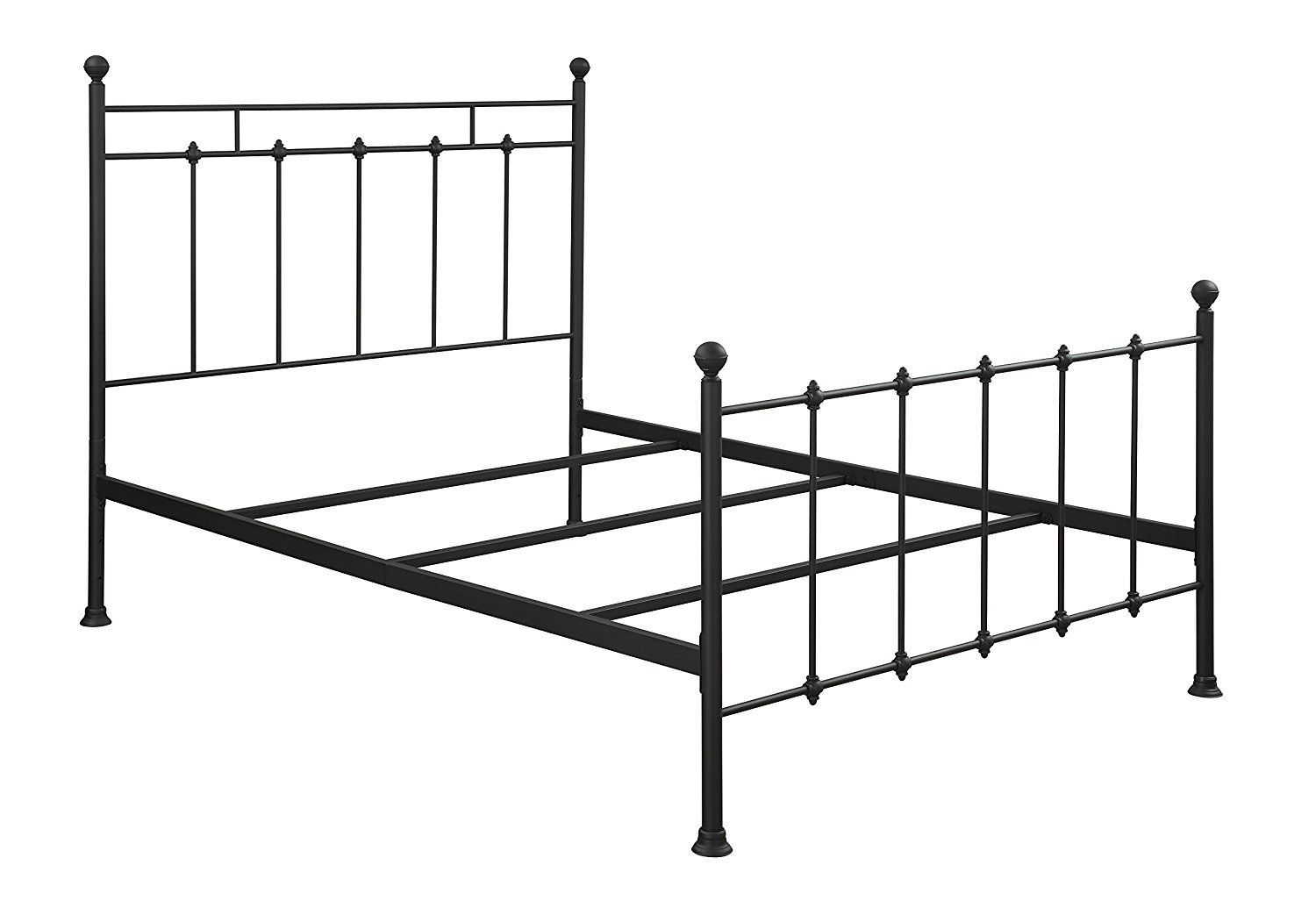 All-In-One Metal Bed Queen Size, Black Finished, Side Rails, Bedroom Furniture, Headboard and Footboard, Fully Turned Metal Feet, Bundle with Expert Guide ''Happiness, Health and Better Life''