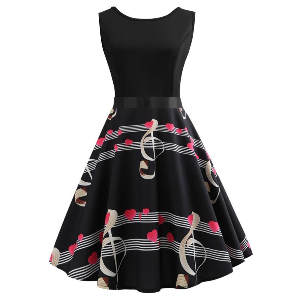 ESAILQ Frauen-Weinlese-Sleeveless O-Ansatz Gedruckte Bogen-Abend-Partei-Abschlussball-Schwingen-Kleid ESAILQ Kleid Nr.1