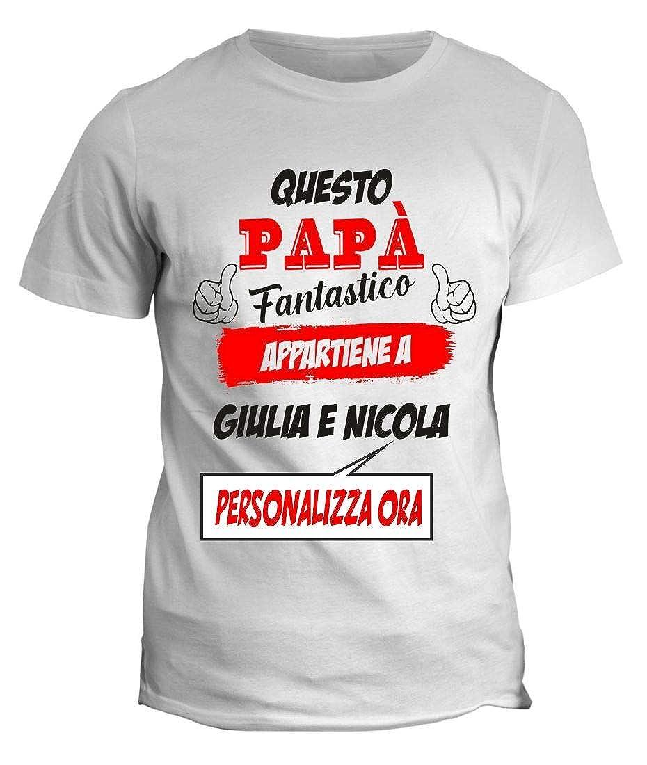 fashwork Tshirt Personalizzabile Festa del pap/à Questo pap/à Fantastico appartiene a Idea Regalo Nomi dei Figli