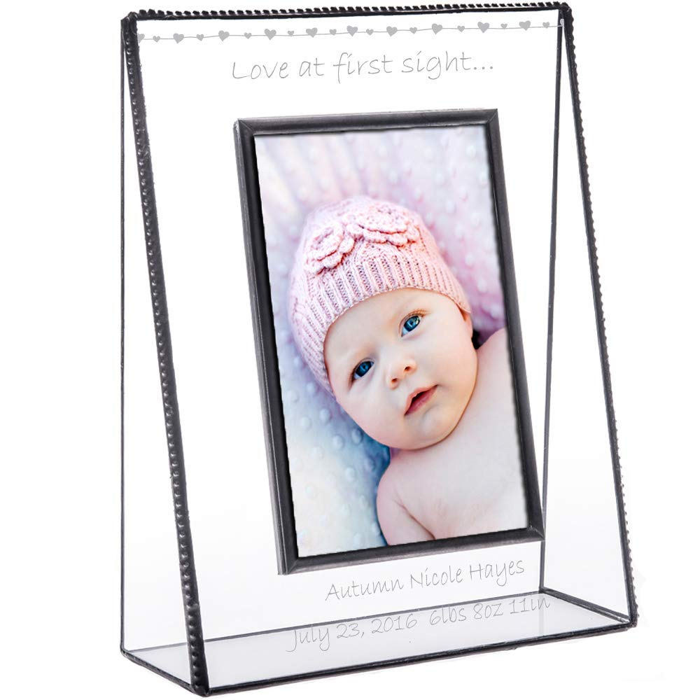J Devlin Pic 319-46V EP558 Personalized Baby Picture Frame Tabletop 4 x 6 Vertical Engraved Glass Keepsake Gift by J Devlin Glass Art