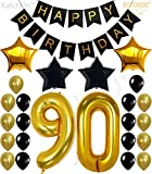 KATCHON 90th Birthday Decorations Party Supplies - Large Number 90 | Happy Birthday Banner | Black and Gold Balloons | 90th Birthday Party Decorations Kit | Great For 90 Year Old Party Supplies