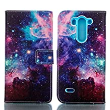 Premium Folio Wallet Phone Case for LG G3 - fengusp Book Design PU Leather Magnetic Flip Stand Cover with Card Slots and Kickstand + Stylus Pen + Dust Plug - Pattern Star