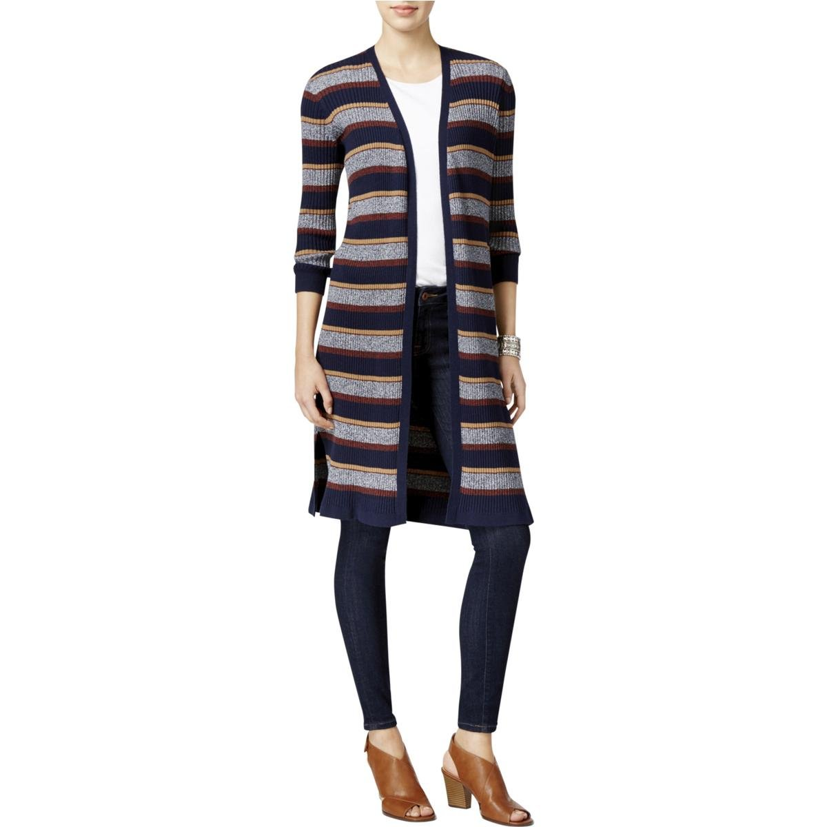 Style & Co... Ribbed Duster Cardigan in Indigo Blue Combo (X-Large)