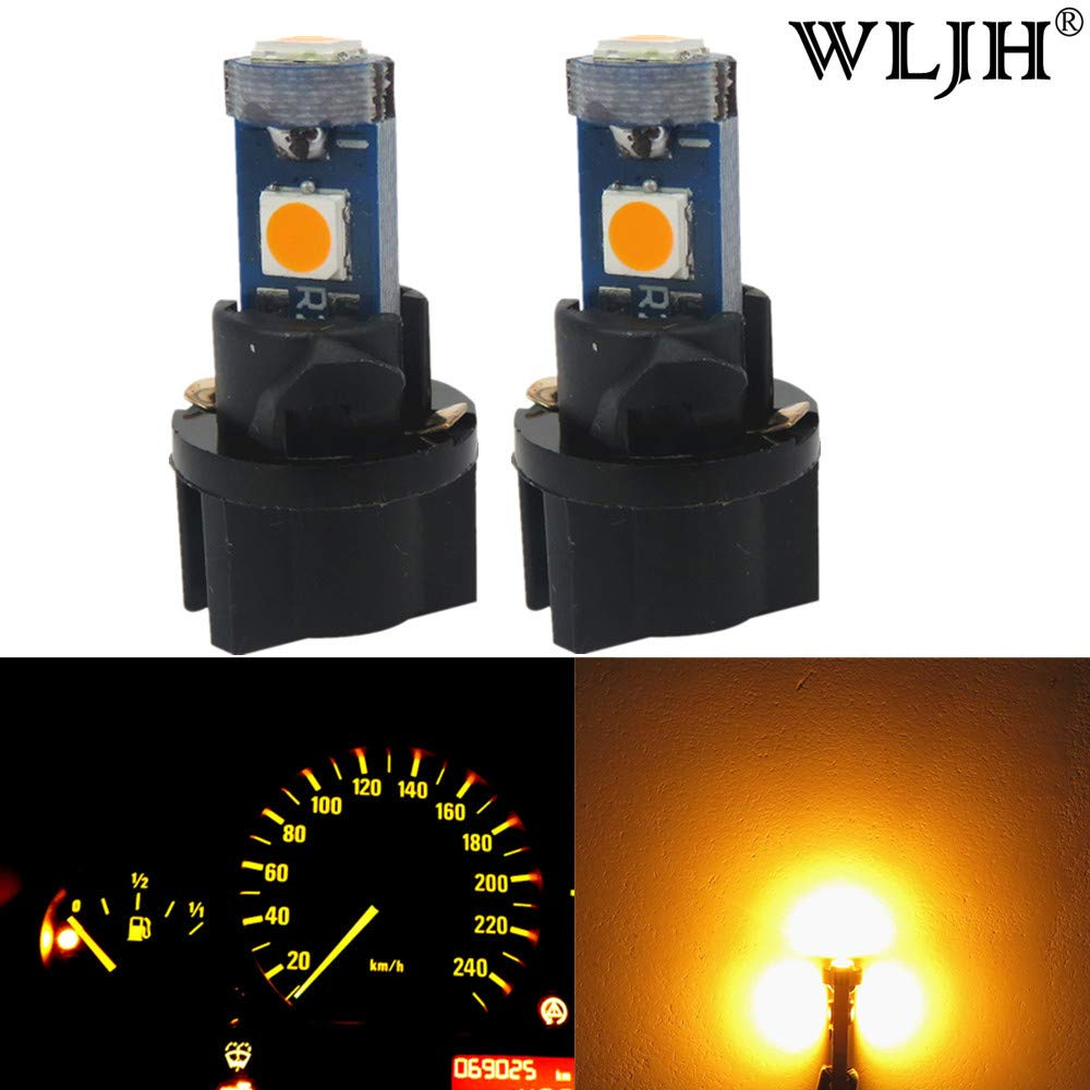 WLJH 10 Pack Yellow/Amber T5 Wedge LED Instrument Panel Light Lamp 73 74 3030 3-SMD Cluster Plug Lamp Dash Light Bulb Twist Socket