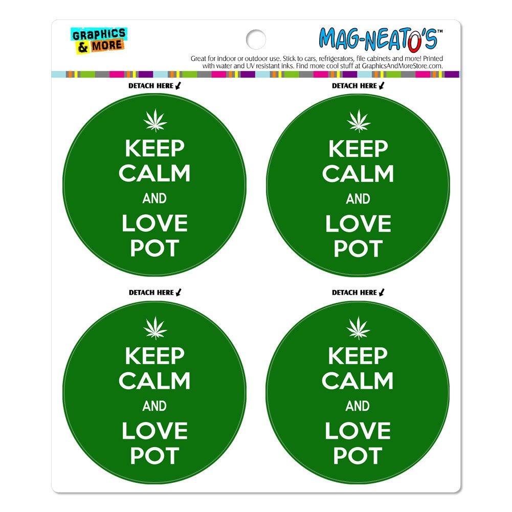 Keep Calm And Love olla con hoja de marihuana con inscripción en inglés mag-neato es del coche para frigoríficos puertas vinilo juego de imán: Amazon.es: ...