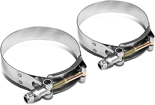 2.5 inches Zinc Coated Stainless Steel T-Bolt Clamp Pack of 4