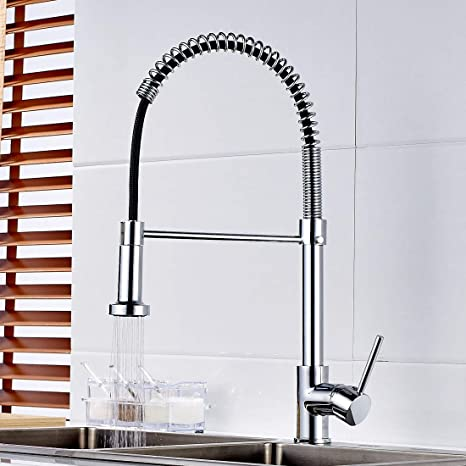 Flg Contemporary Kitchen Sink Faucet Single Handle And Single Hole Spring High Arc Kitchen Faucet With Pull Down Swivel Sprayer Plumbing Features