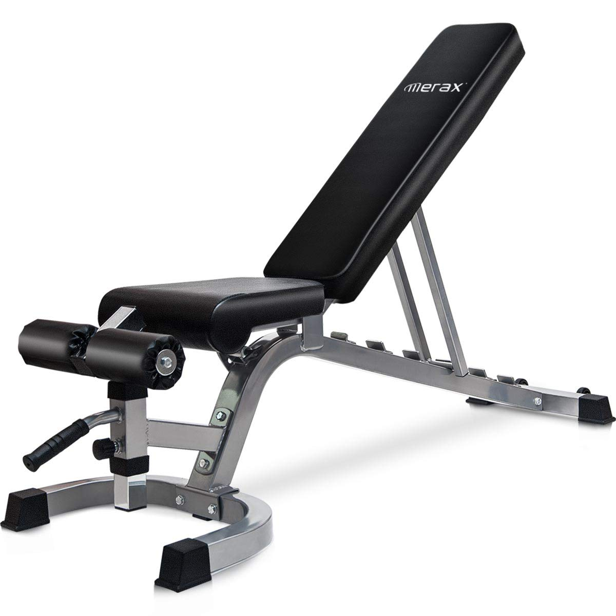 Merax Deluxe Utility Weight Bench Adjutable Sit Up AB Incline Bench Home Gym Equipment (Gray)