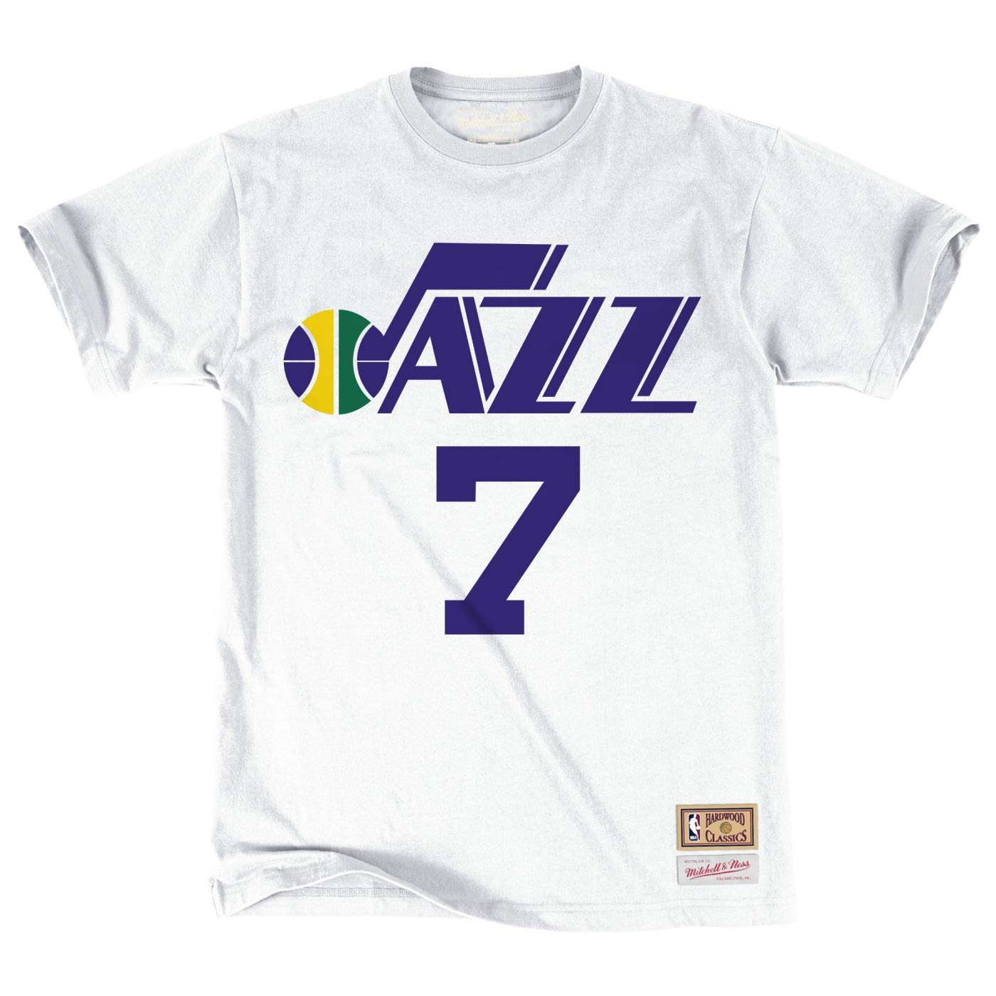 afbac0d0321a Amazon.com   Pete Maravich Utah Jazz NBA Mitchell   Ness White Hardwood  Classics Retro Player N N Jersey T-Shirt For Men   Sports   Outdoors
