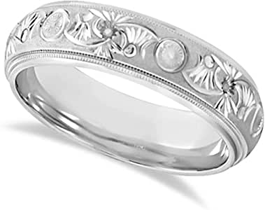High Polished Hand Engraved Wedding Band Carved Ring For
