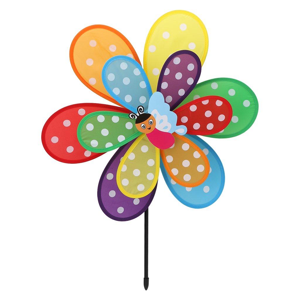 Fogun Windräder, 1 pc Doppelschicht Insekt Windmühle Bunte Wind Spinner Kinder Spielzeug Garten Rasen Hof Decor-Farbe Zufällige Fogun Windräder Fogun_ 5AC301057