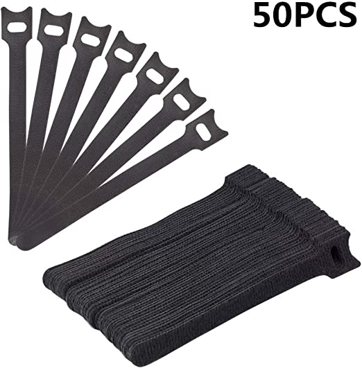 "5 Cable Ties 50Pcs Reusable Hook And Loop Fastening With Microfiber Cloth-6/"" X"