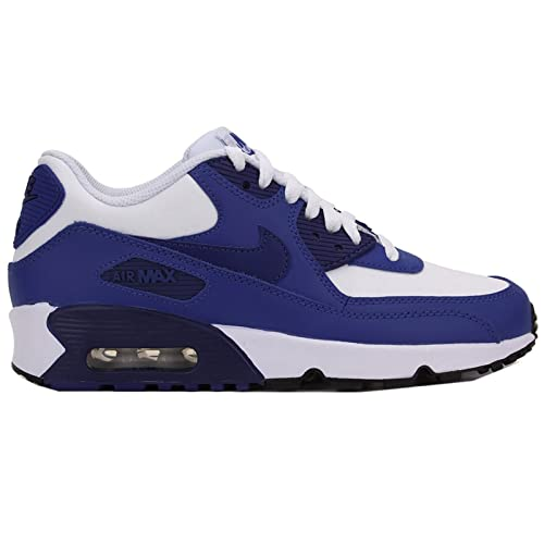 the latest 85ee2 e350f Nike Air Max 90 Leather (GS) Schuhe white-deep royal blue-gym royal-black -  35,5 Amazon.es Zapatos y complementos