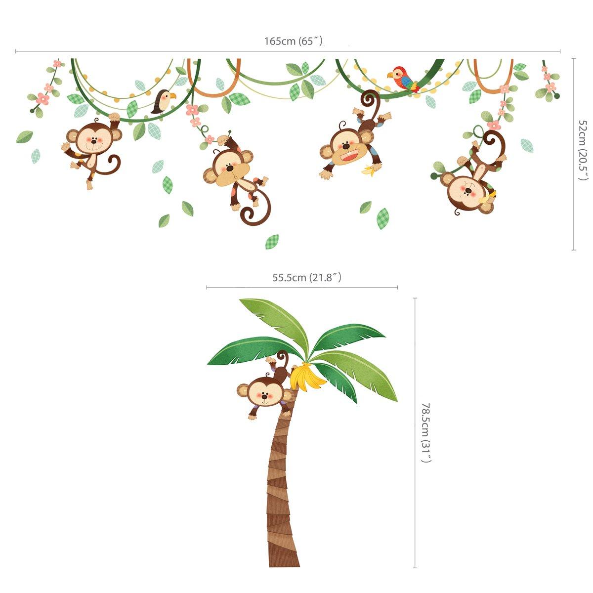 decowall da 1507 monkeys on vine kids wall stickers wall decals