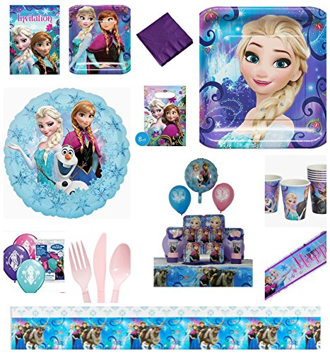 New Frozen Magic 117 Piece Birthday Party Kit with Place Settings Decorations Favors and Invitations Serves 8