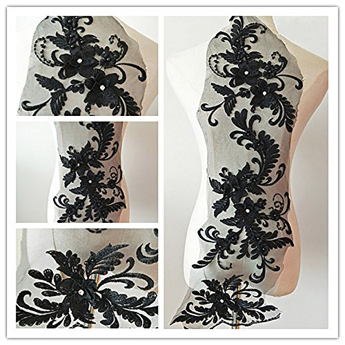 3D beaded flower sequence lace applique motif sewing bridal wedding 3in1 20cmx72cm (Black) - Black Sequin Beaded Applique
