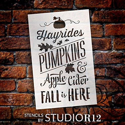 Fall is Here Stencil - Festive - Word Art Stencil - STCL2029 - by StudioR12 (9'' x 14'')