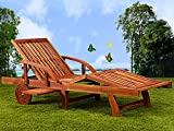 Wooden Sun Lounger Foldable Tami Sun Deck Chair Day Bed Brown Outdoor Patio Solid Hardwood