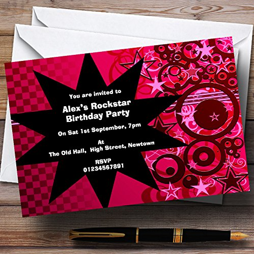 Pink Rockstar Theme Personalized Birthday Party Invitations (Rockstar Birthdays)