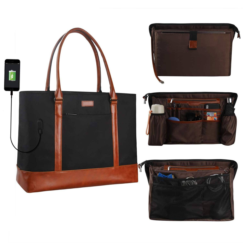 MONSTINA Laptop Tote Bag,15.6 Inch Laptop Bag for Women Teacher,Large Laptop Organizer Bag with USB Port,Waterproof Briefcase Shoulder Bag for Work