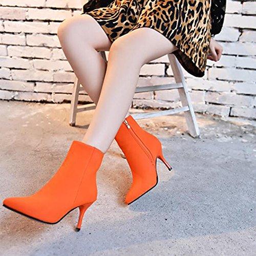 Angelliu Donna Stivaletti A Punta Tacco A Spillo Con Zip Laterale Arancione