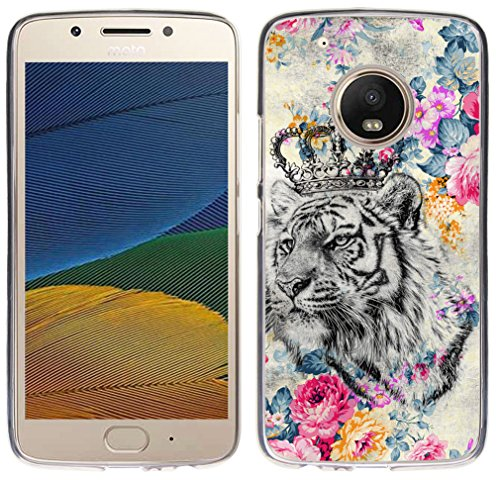 - Case for Moto G5 Plus Tiger - CCLOT TPU Flexible Protective Rubber Cover Compatible for Motorola 5th Generation for Moto G5 Plus Cute Tiger Cool Animal