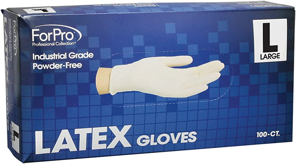 ForPro Powder-Free Latex Gloves, Industrial Grade, Non-Sterile, Food Safe, 4 Mil