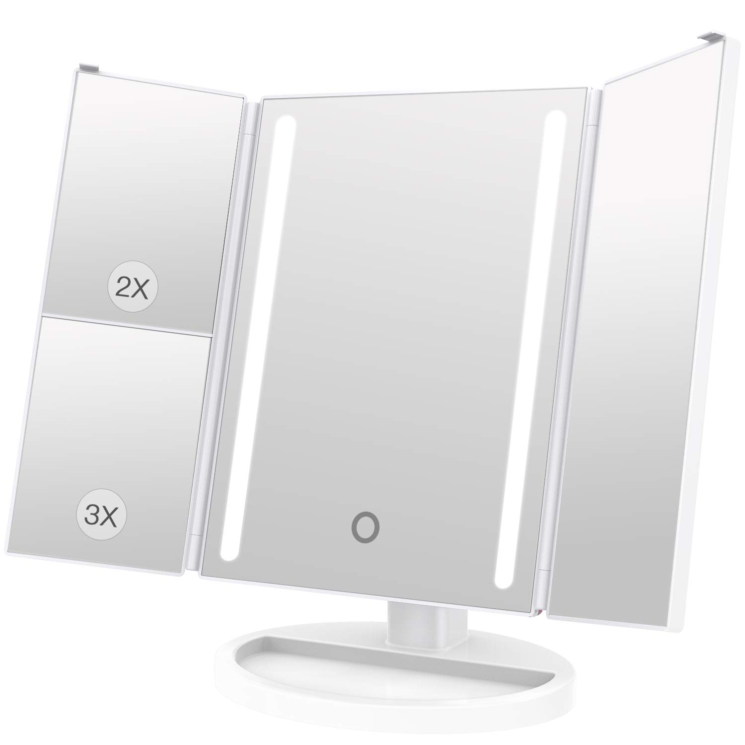 BESTOPE Makeup Vanity Mirror with 24 LED Lights, 3X/2X Magnifying Led Makeup Mirror,15 inch Larger Touch Screen,Dual Power Supply,180° Adjustable Rotation,Countertop Cosmetic Mirror