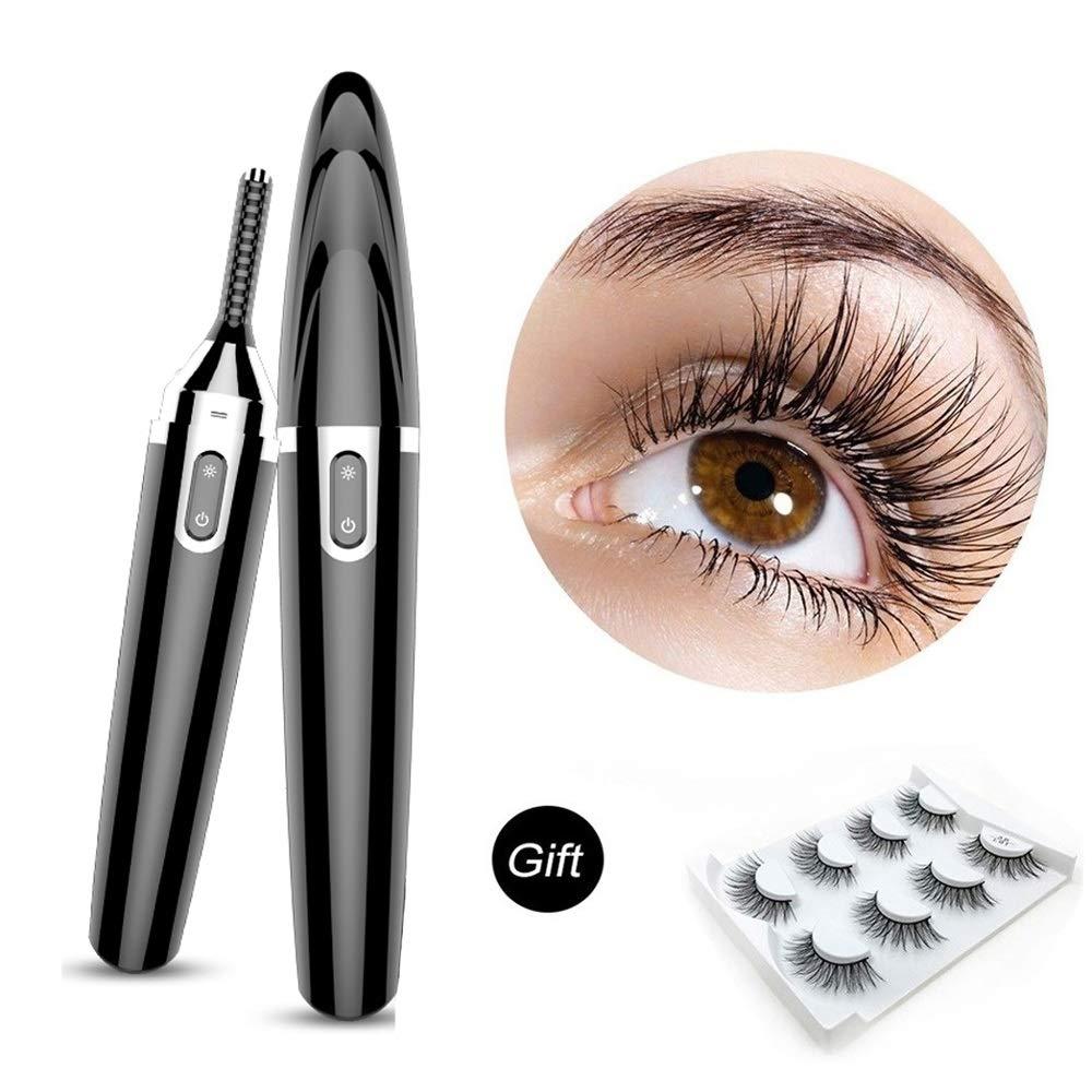Heated Eyelash Curler, Mini Eyelash Curler, 360° Rotary Heated Eyelash Curler, Professional Heated Eye Lash Curler For Makeup Beauty Styling Curling Tools (Color : Black) by XDT