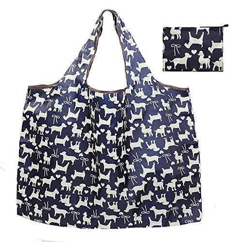 Reusable Grocery Bags,cute Grocery Tote Foldable into Attached Pouch, Polyester Reusable Shopping Bags, Washable, Durable and Lightweight