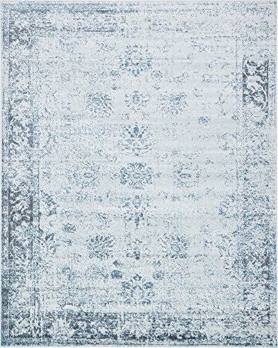 Traditional 8 feet by 10 feet (8' x 10') Sofia Light Blue Area Rug