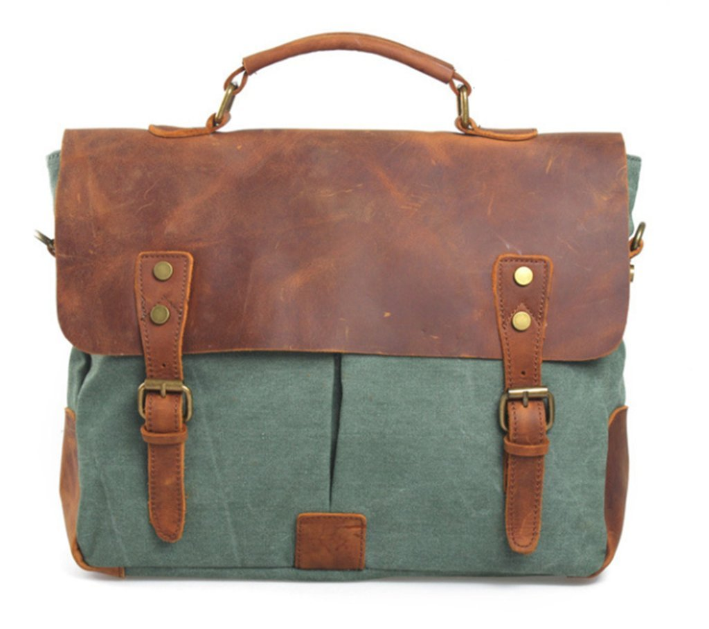 Bagtopia Men's Vintage Genuine Leather & Canvas Laptop Messenger Bag Briefcase Green