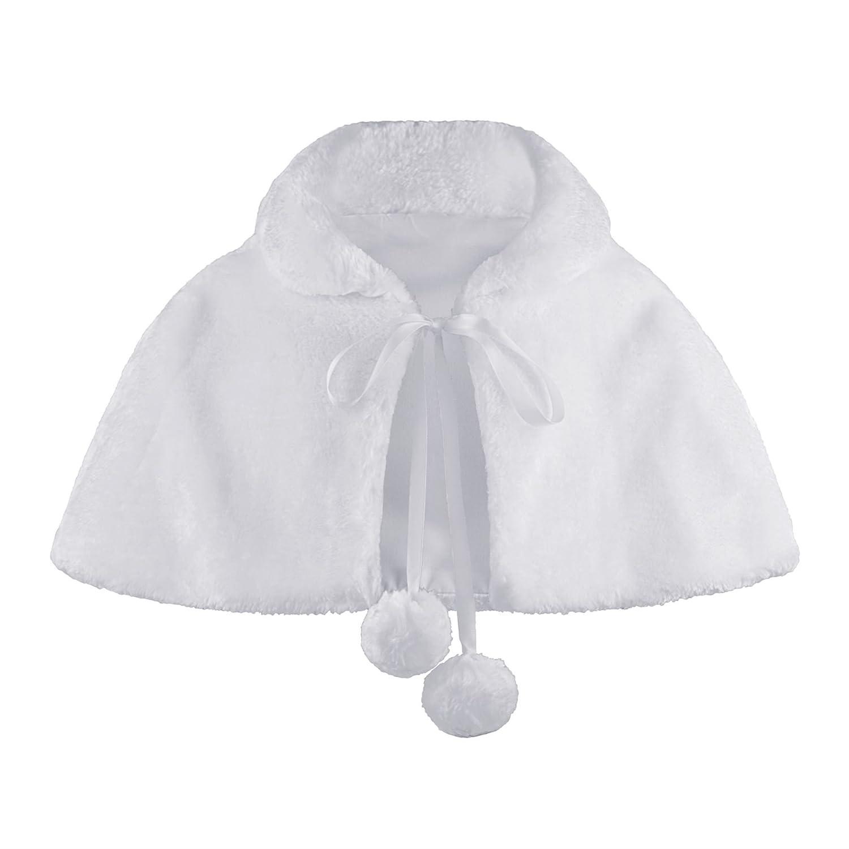 LOTMART Girls Faux Fur Cape Bridesmaid Tippet Pompom Tie Stole Shrug