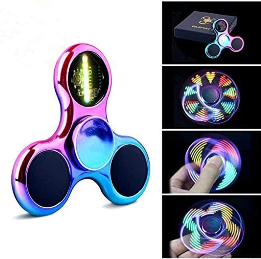 Fidget Spinner Spinner de Mano Quimat con LED Se encienden Juguetes para Dedos EDC 18 modalidades de Parpadeo niños y Adultos (Colorido)