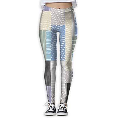 XINSHOU Women's Square Shaped Box Forms With Sketch Tone Traces Hand Drawn Print Spandex Leggings