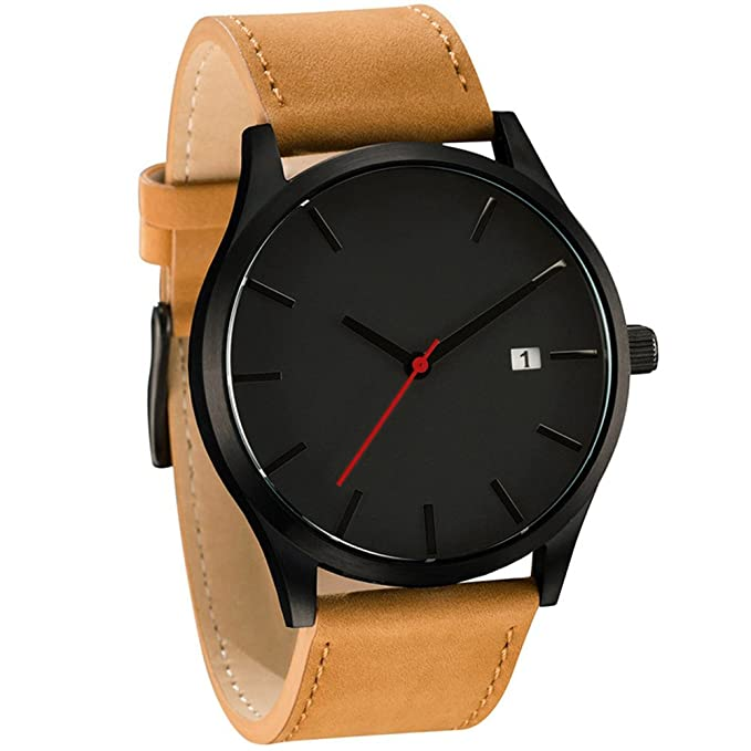 Amazon.com: Popular Low-Key Minimalist Connotation Leather Mens Quartz Wristwatch (A): Watches