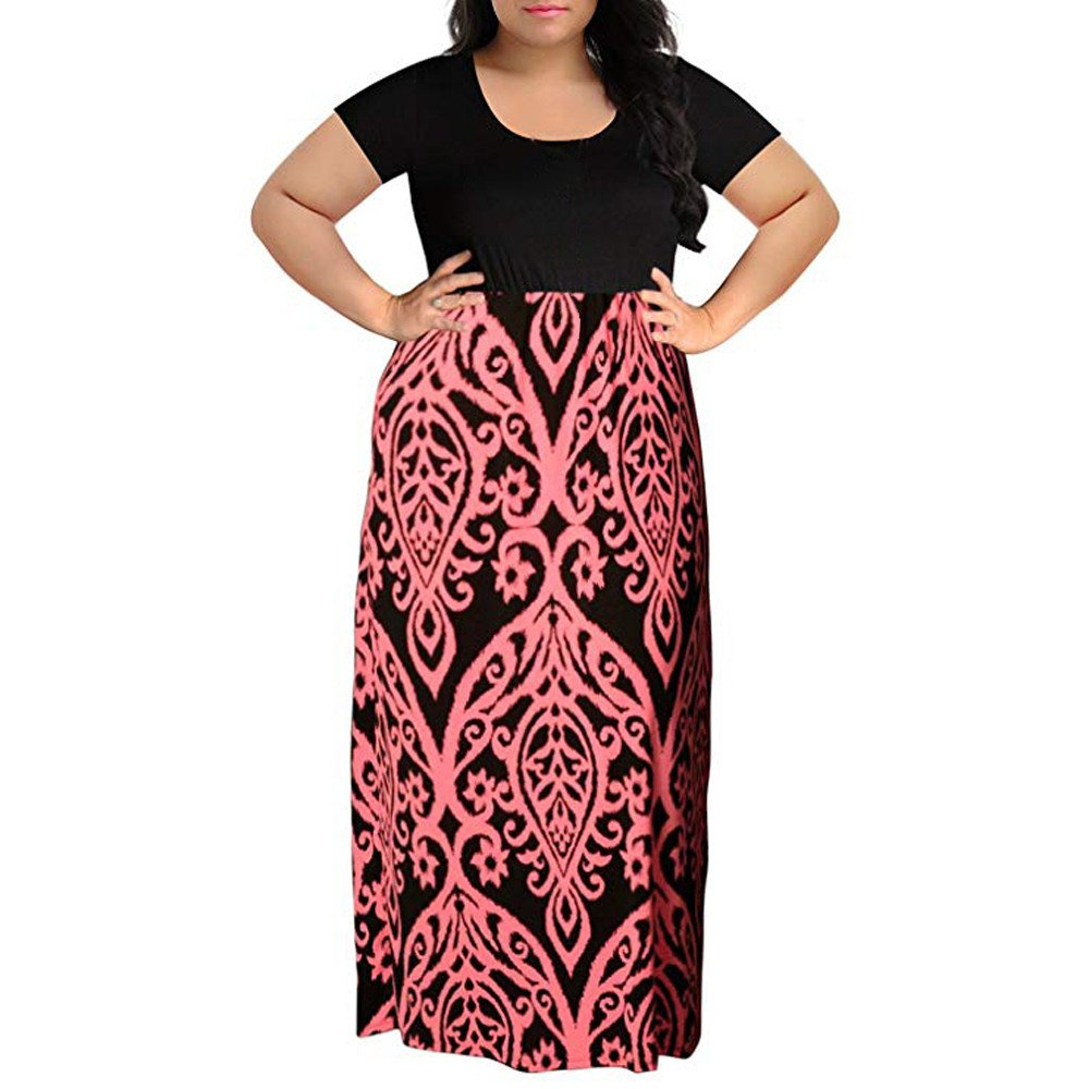 Womens Dresses Clearance! Women's Print Summer Patchwork Short Sleeve Plus Size Casual Long Maxi Dress (2XL, Pink)