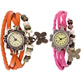 Success Deal Brosis Deal Vintage Leather Analogue Orange And Pink Butterfly Bracelet Watch For Girls And Women