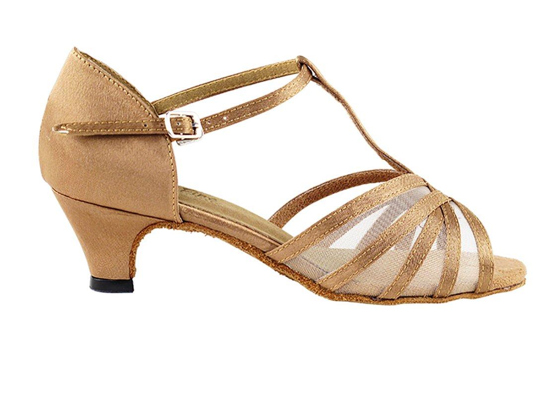 Very Fine Ballroom Latin Tango Salsa Dance Shoes for Women 16612 1.3-inch Heel + Foldable Brush Bundle - Brown Satin - Flesh Mesh - 7.5 by Very Fine Dance Shoes (Image #2)