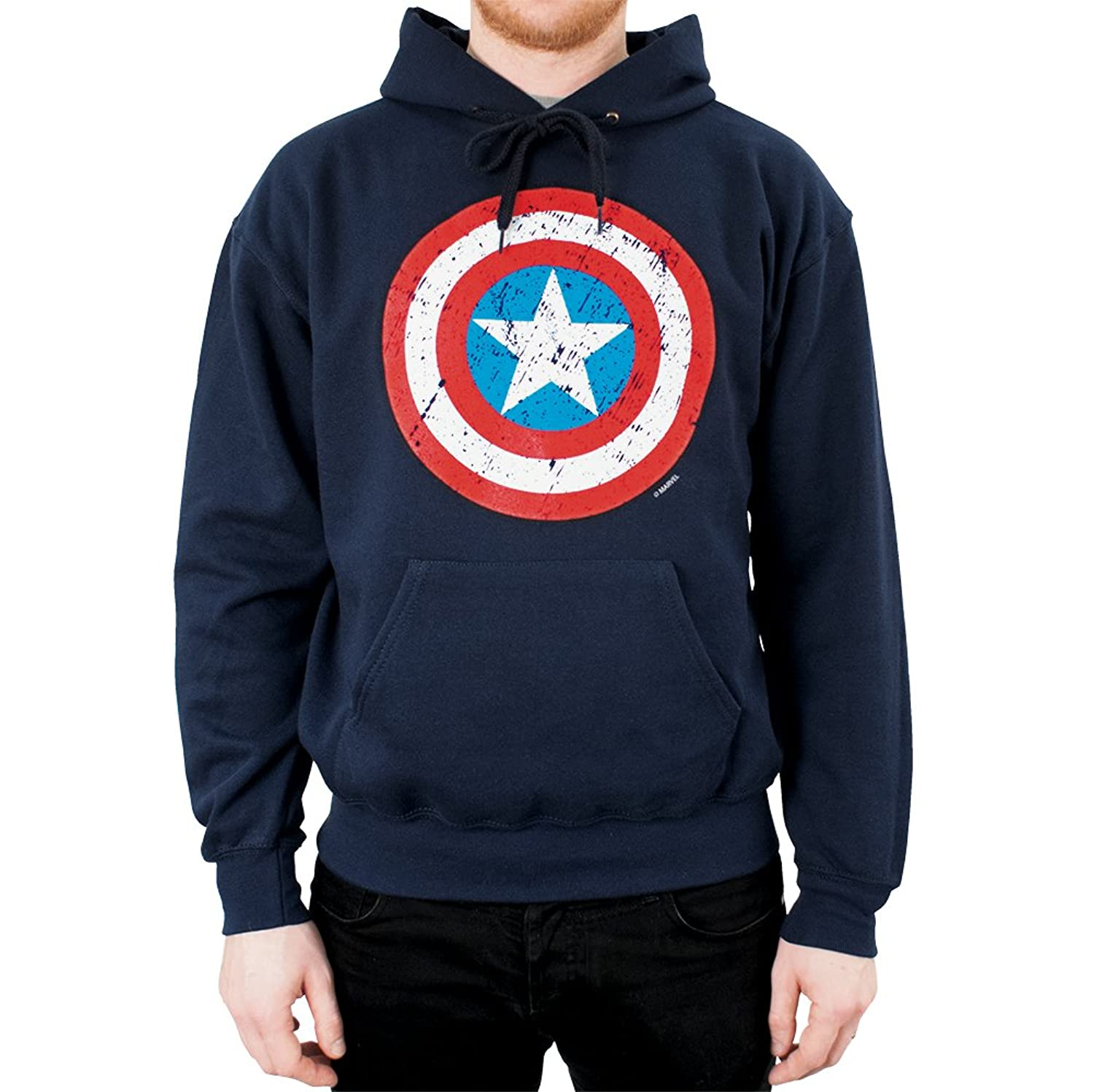 Mens Marvel Hoodie - Official Limited Edition Captain America Distressed Shield Hoodie