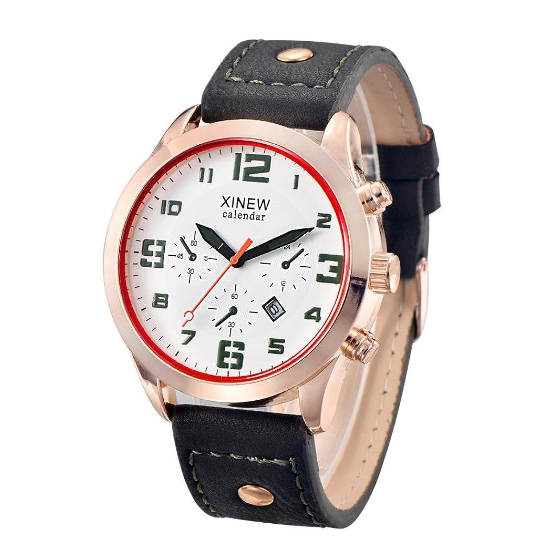 メンズ腕時計、TominメンズLuxuryステンレススチールクォーツミリタリースポーツレザーバンドダイヤル腕時計 グリーン B0725BGNHF