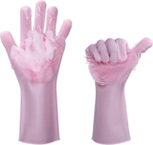 Silicone Gloves for Pet Grooming Kitchen, Bathroom, Car, and More (Pink)