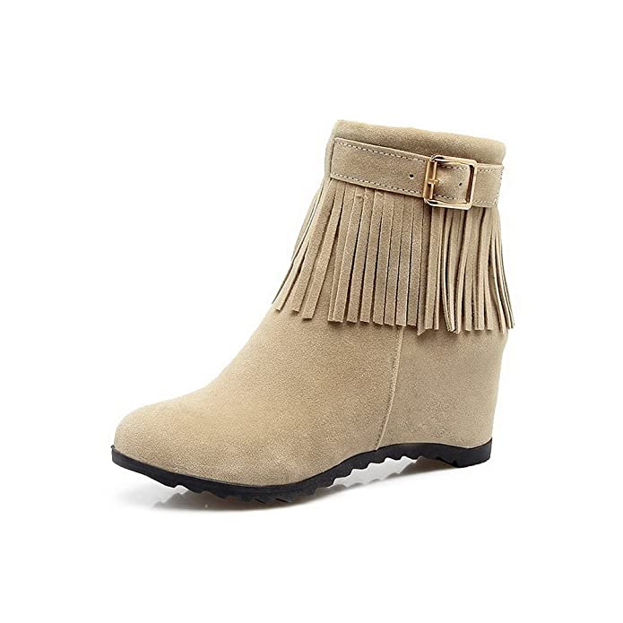 AdeeSu Womens Retro Fringed Wedges Buckle Nylon Boots SXC02498: Amazon.ca:  Shoes & Handbags