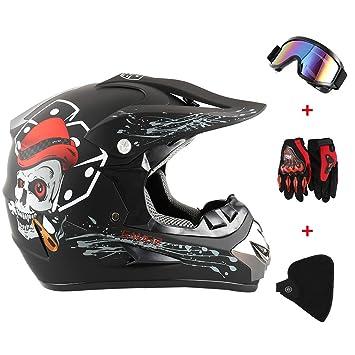 LoveStory_eu Fantastic FS945 Casco de cross ATV Motocross MTB Quad Gafas & Guantes & Máscara Zibellino