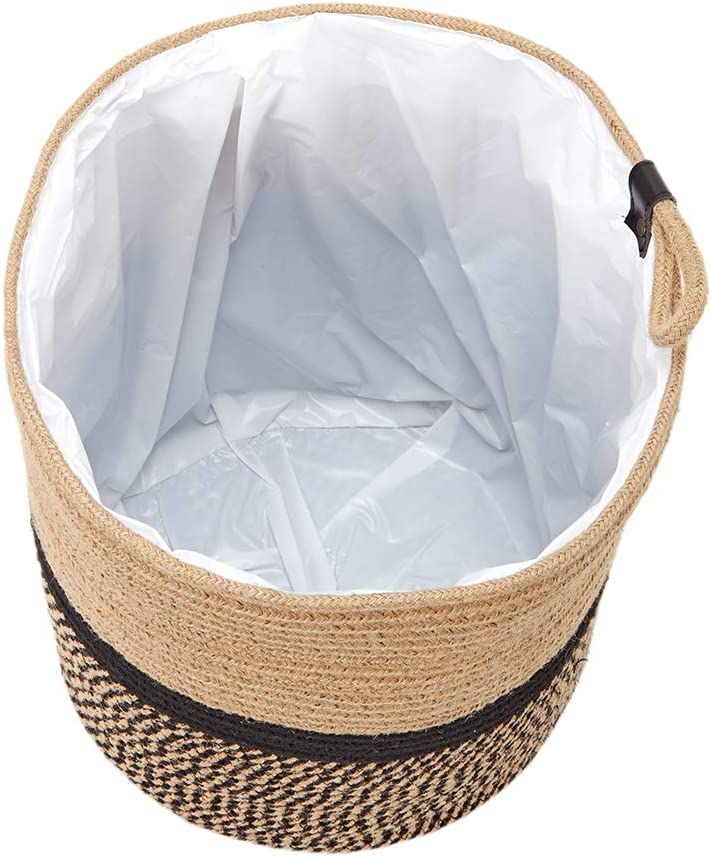 Decorative Indoor Planter Cover 11 x12 Black and Yellow Fit Up to 10 Flower Pot Storage Organizer Basket with Handle Bag Only HOMEST Cotton Rope Plant Basket