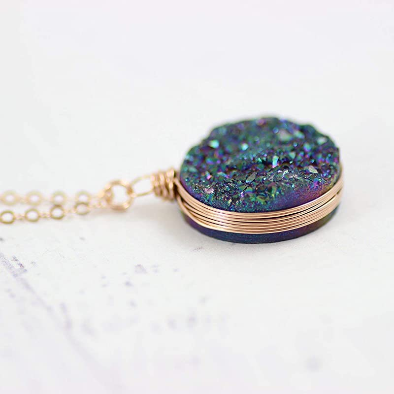 18 Length Rainbow Druzy Rose Gold Filled Large Pendant Necklace