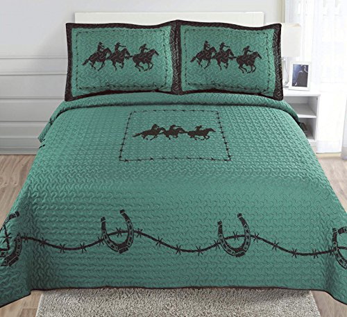 3-piece Printed Turquoise Brown Chocolate Western Lone Star Barb Wire, Shoe Horse Cabin / Lodge Quilt Bedspread Coverlet Set (Full/ Queen, Three Horse-Turquoise)