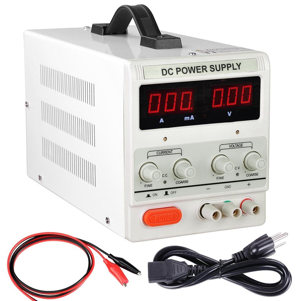 Yescom 110V Input 30V 5A Output Precision Variable Digital DC Power Supply with Alligator Test Lead Set