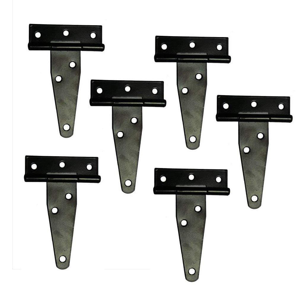 T&B T-Strap Light Duty Shed Hinge Gate Strap Hinge Door Barn Gates Hinges Black Wrought Hardware Iron Rustproof 6PCS (4inch)
